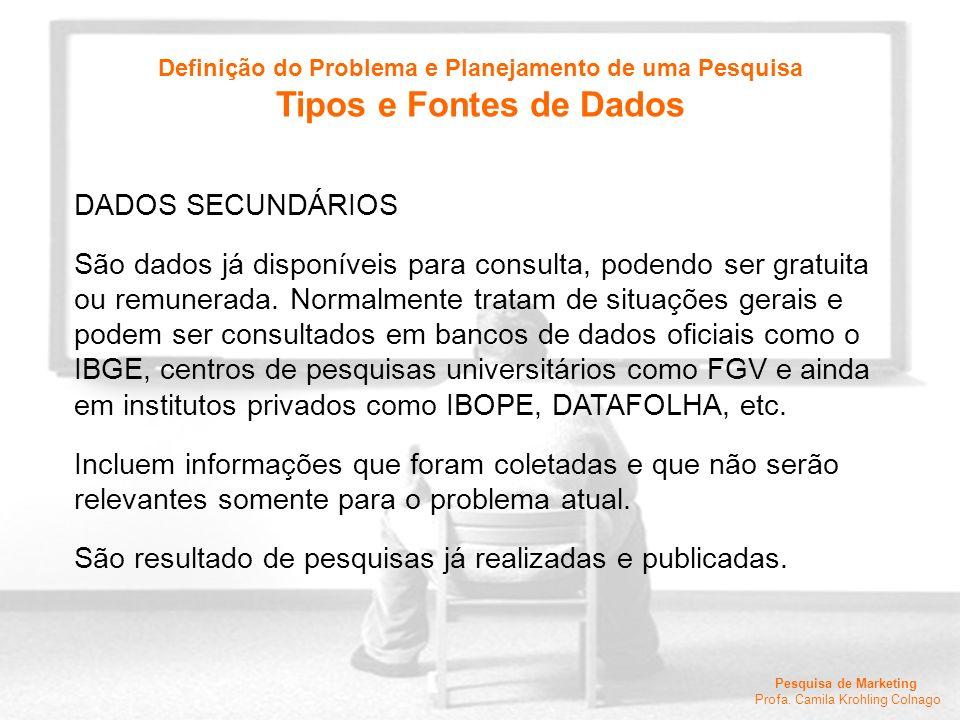 Pesquisa de Marketing Profa. Camila Krohling Colnago DADOS SECUNDÁRIOS São dados já disponíveis para consulta, podendo ser gratuita ou remunerada. Nor
