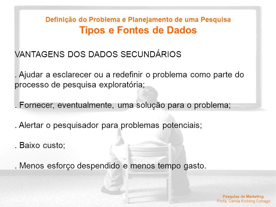 Pesquisa de Marketing Profa. Camila Krohling Colnago VANTAGENS DOS DADOS SECUNDÁRIOS. Ajudar a esclarecer ou a redefinir o problema como parte do proc