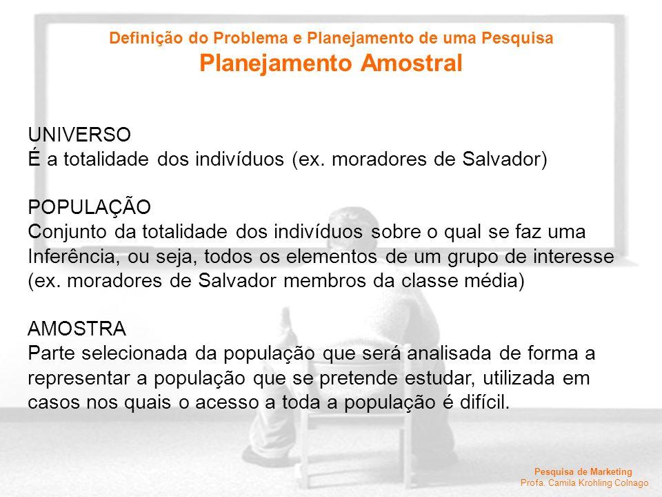 Pesquisa de Marketing Profa. Camila Krohling Colnago UNIVERSO É a totalidade dos indivíduos (ex. moradores de Salvador) POPULAÇÃO Conjunto da totalida
