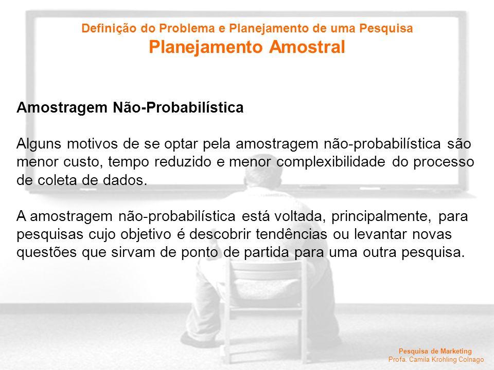 Pesquisa de Marketing Profa. Camila Krohling Colnago Amostragem Não-Probabilística Alguns motivos de se optar pela amostragem não-probabilística são m