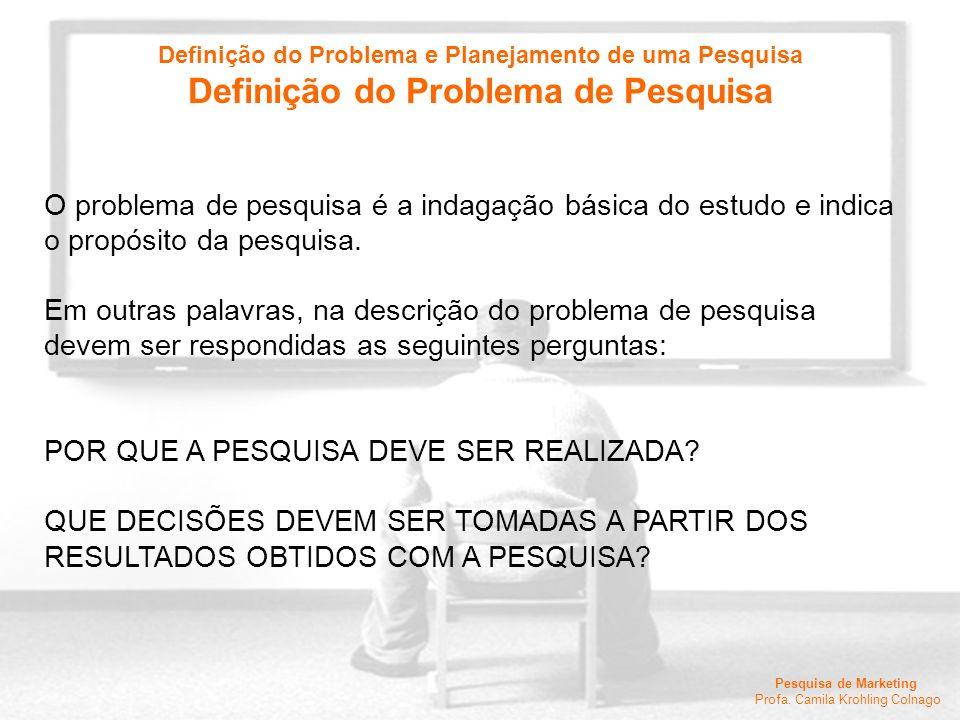 Pesquisa de Marketing Profa. Camila Krohling Colnago O problema de pesquisa é a indagação básica do estudo e indica o propósito da pesquisa. Em outras