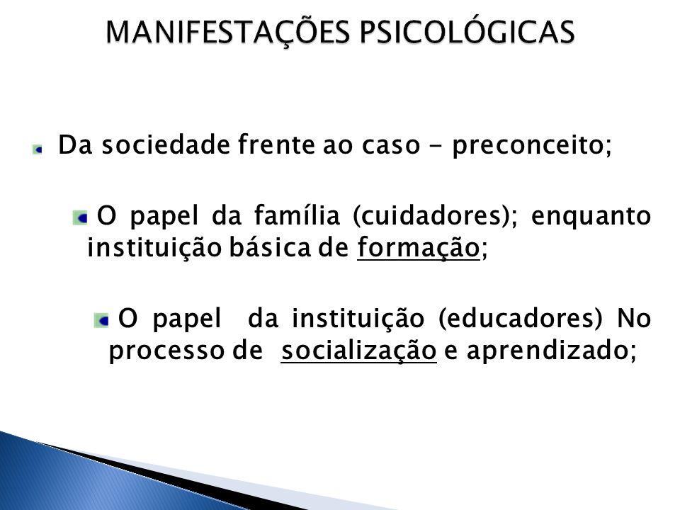 Da sociedade frente ao caso - preconceito; O papel da família (cuidadores); enquanto instituição básica de formação; O papel da instituição (educadores) No processo de socialização e aprendizado;