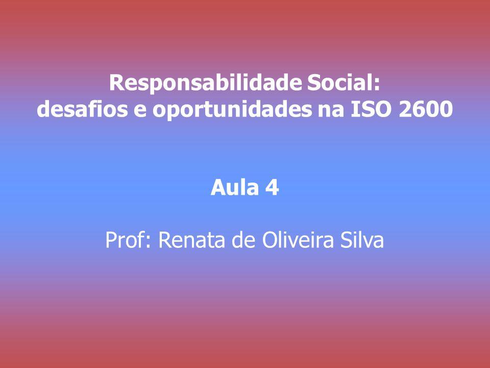 Responsabilidade Social: desafios e oportunidades na ISO 2600 Aula 4 Prof: Renata de Oliveira Silva