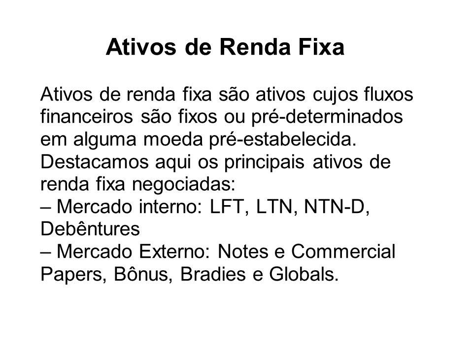 Ativos de Renda Fixa Ativos de renda fixa são ativos cujos fluxos financeiros são fixos ou pré-determinados em alguma moeda pré-estabelecida. Destacam