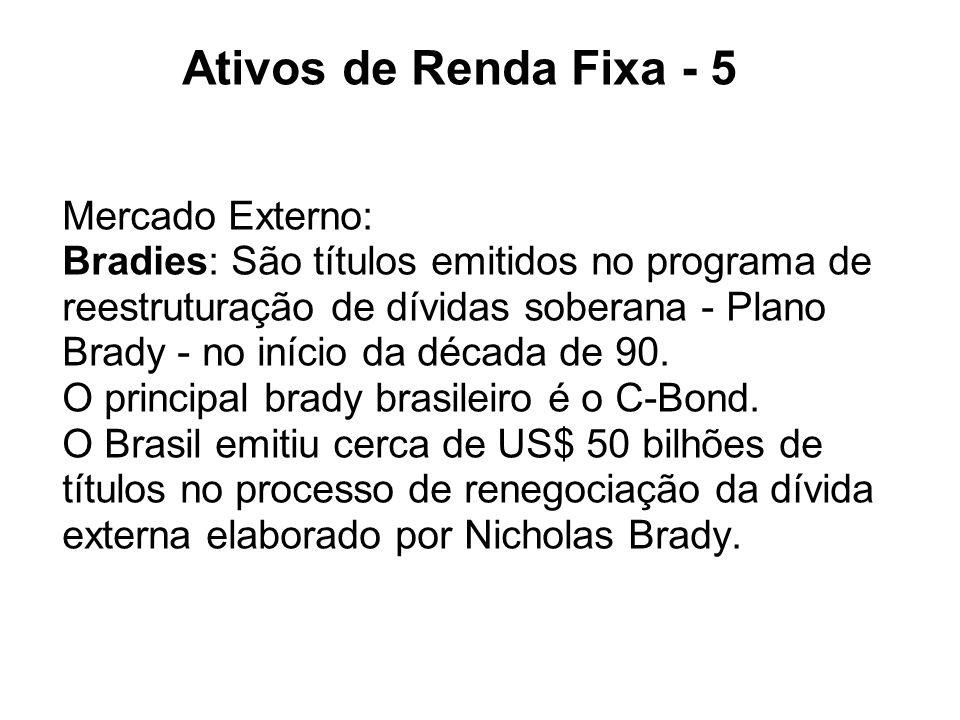 Ativos de Renda Fixa - 5 Mercado Externo: Bradies: São títulos emitidos no programa de reestruturação de dívidas soberana - Plano Brady - no início da
