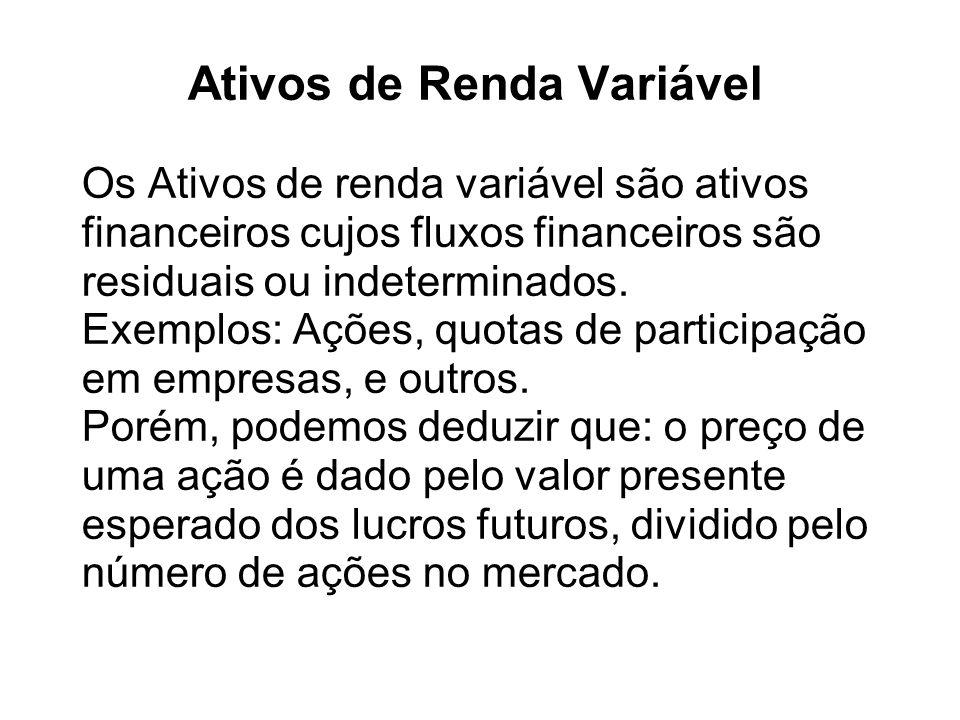Ativos de Renda Variável Os Ativos de renda variável são ativos financeiros cujos fluxos financeiros são residuais ou indeterminados. Exemplos: Ações,
