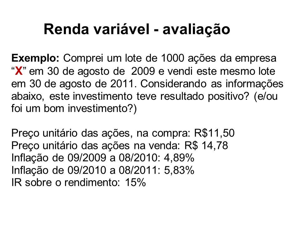 Renda variável - avaliação Exemplo: Comprei um lote de 1000 ações da empresa X em 30 de agosto de 2009 e vendi este mesmo lote em 30 de agosto de 2011