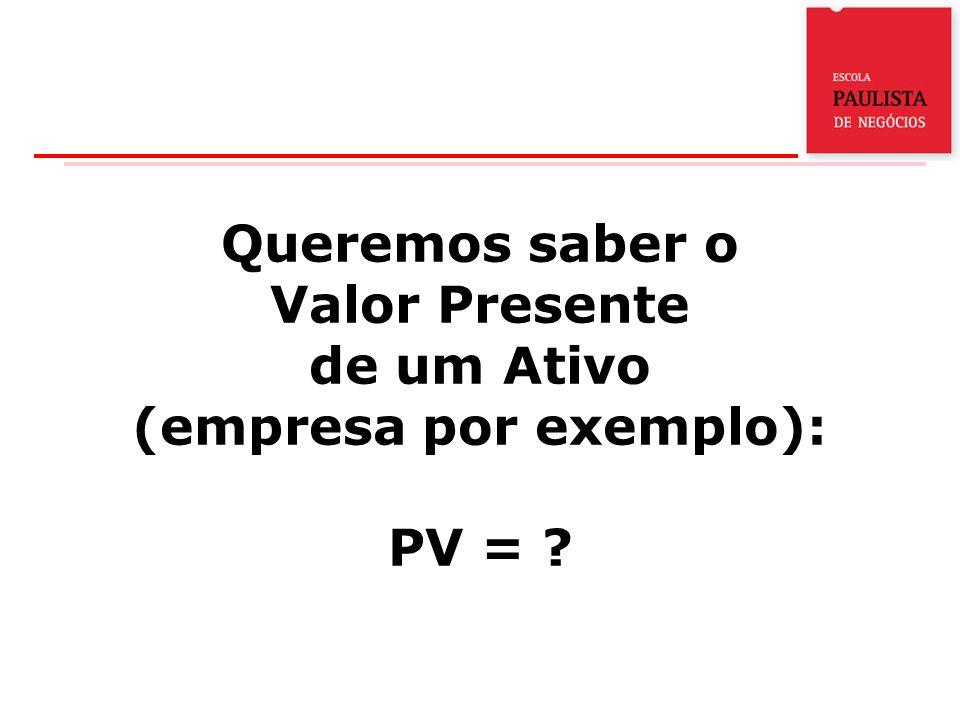 Queremos saber o Valor Presente de um Ativo (empresa por exemplo): PV = ?