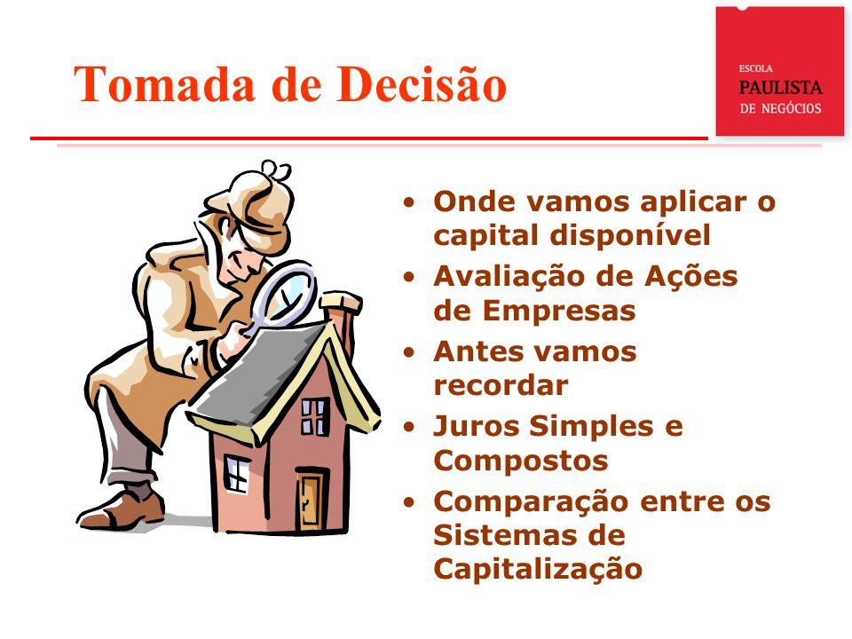 Tomada de Decisão Onde vamos aplicar o capital disponível Avaliação de Ações de Empresas Antes vamos recordar Juros Simples e Compostos Comparação ent