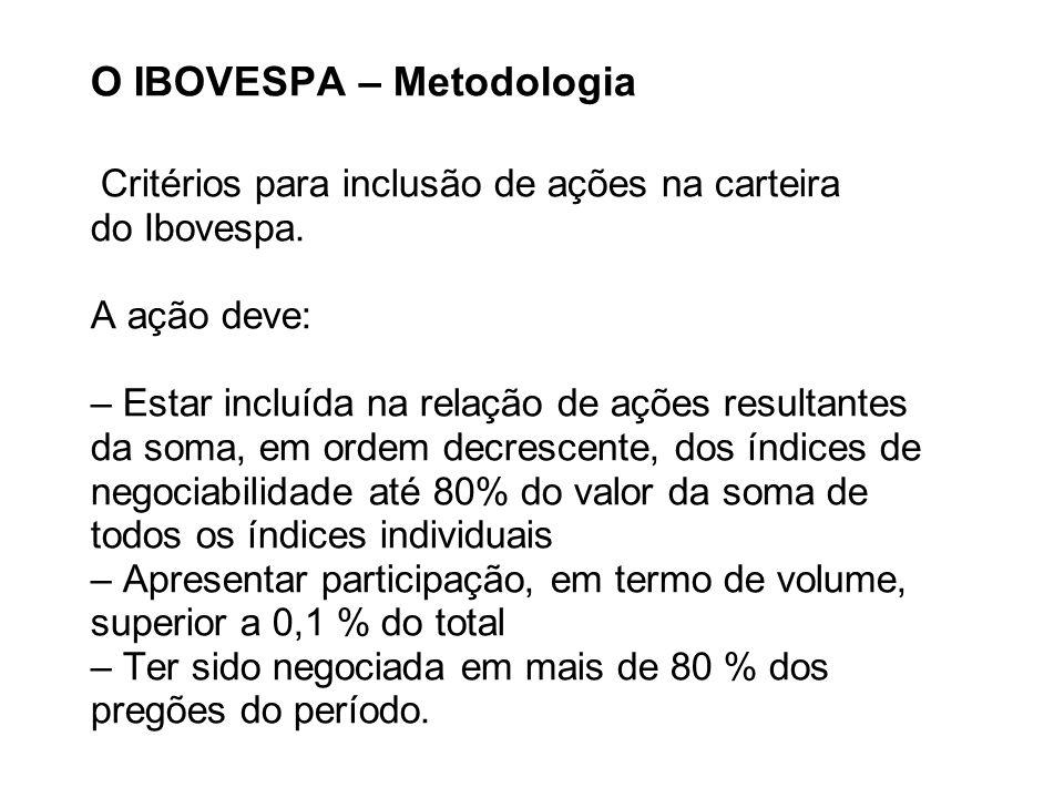 O IBOVESPA – Metodologia Critérios para inclusão de ações na carteira do Ibovespa. A ação deve: – Estar incluída na relação de ações resultantes da so
