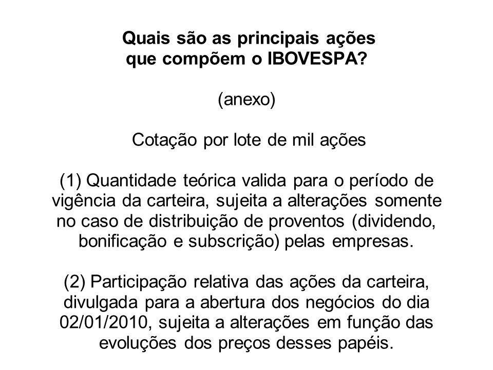 Quais são as principais ações que compõem o IBOVESPA? (anexo) Cotação por lote de mil ações (1) Quantidade teórica valida para o período de vigência d