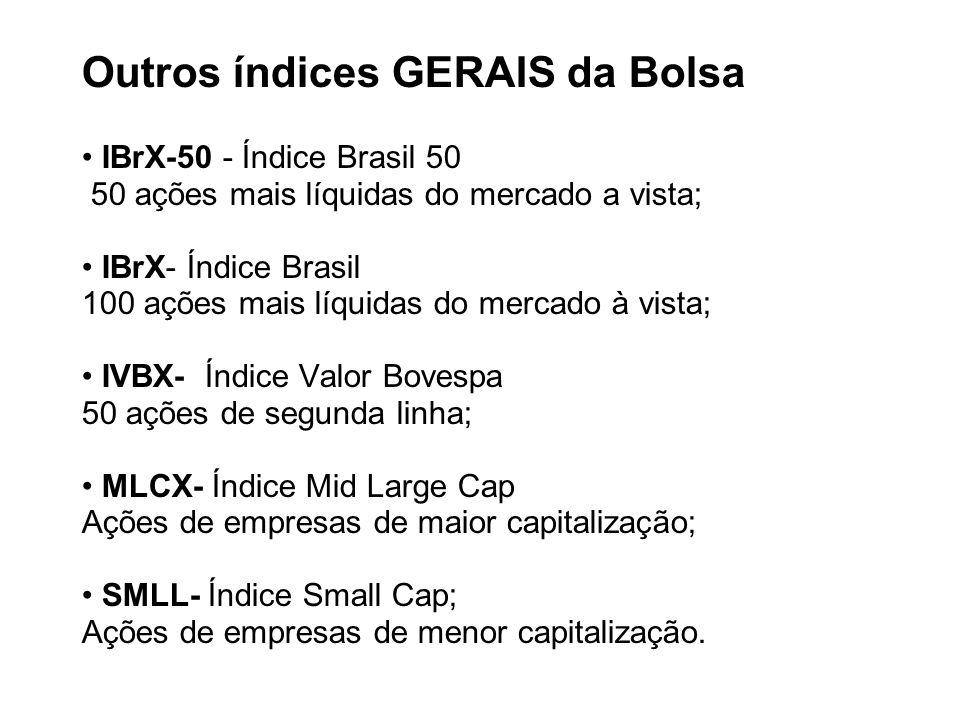 Outros índices GERAIS da Bolsa IBrX-50 - Índice Brasil 50 50 ações mais líquidas do mercado a vista; IBrX- Índice Brasil 100 ações mais líquidas do me