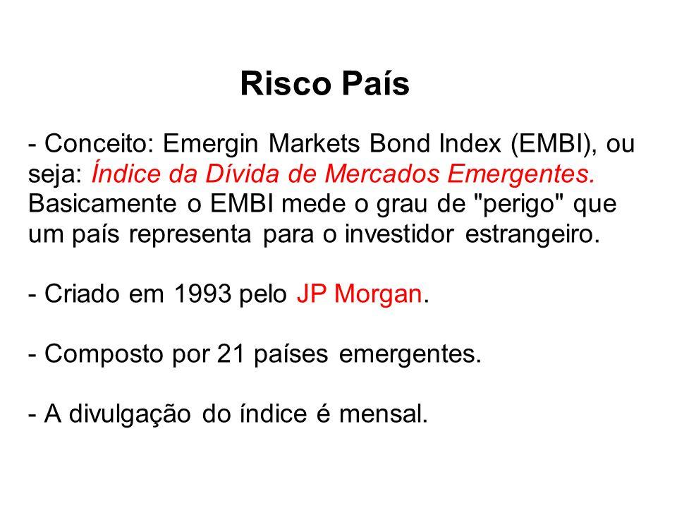 Risco País - Conceito: Emergin Markets Bond Index (EMBI), ou seja: Índice da Dívida de Mercados Emergentes. Basicamente o EMBI mede o grau de