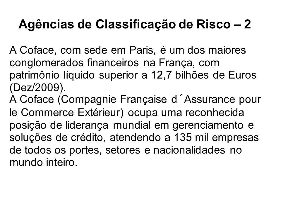 Agências de Classificação de Risco – 2 A Coface, com sede em Paris, é um dos maiores conglomerados financeiros na França, com patrimônio líquido super