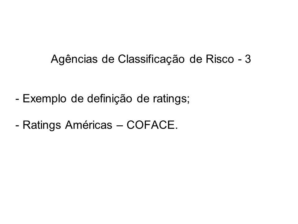Agências de Classificação de Risco - 3 - Exemplo de definição de ratings; - Ratings Américas – COFACE.