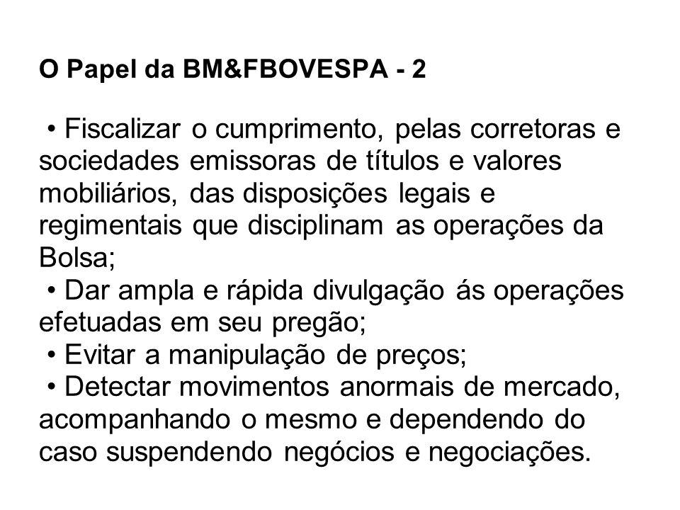 O Papel da BM&FBOVESPA - 2 Fiscalizar o cumprimento, pelas corretoras e sociedades emissoras de títulos e valores mobiliários, das disposições legais