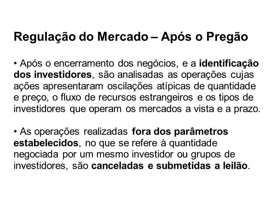 Regulação do Mercado – Após o Pregão Após o encerramento dos negócios, e a identificação dos investidores, são analisadas as operações cujas ações apr
