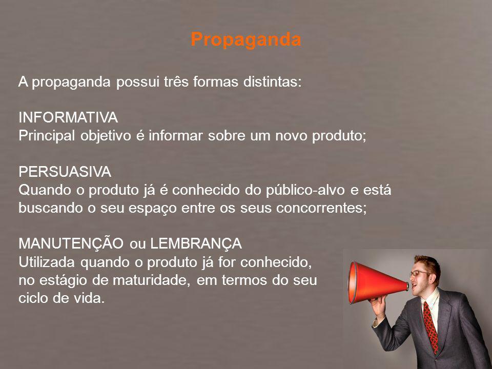 Fundamentos de Marketing Profa. Camila Krohling Colnago A propaganda possui três formas distintas: INFORMATIVA Principal objetivo é informar sobre um