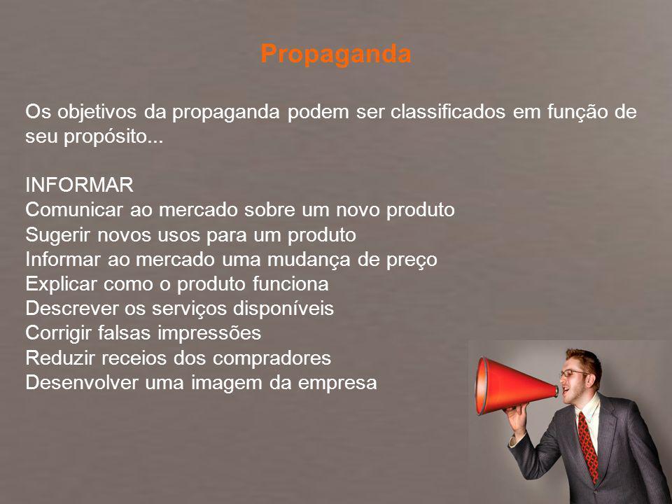 Fundamentos de Marketing Profa. Camila Krohling Colnago Os objetivos da propaganda podem ser classificados em função de seu propósito... INFORMAR Comu