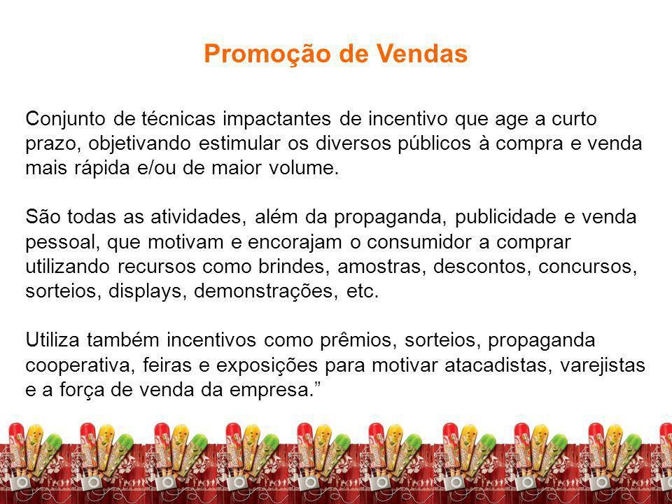 Fundamentos de Marketing Profa. Camila Krohling Colnago Promoção de Vendas Conjunto de técnicas impactantes de incentivo que age a curto prazo, objeti