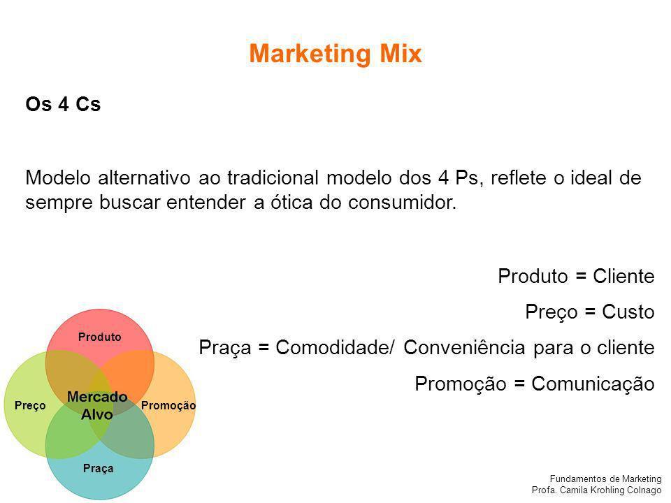 Fundamentos de Marketing Profa. Camila Krohling Colnago Produto PreçoPromoção Praça Os 4 Cs Modelo alternativo ao tradicional modelo dos 4 Ps, reflete