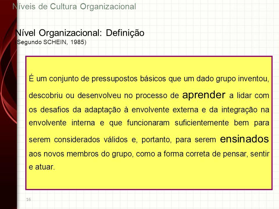 16 É um conjunto de pressupostos básicos que um dado grupo inventou, descobriu ou desenvolveu no processo de aprender a lidar com os desafios da adapt