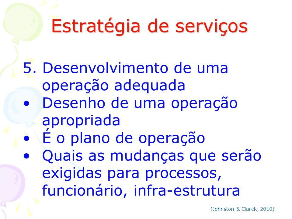 Estratégia de serviços Estratégia de serviços 5. Desenvolvimento de uma operação adequada Desenho de uma operação apropriada É o plano de operação Qua