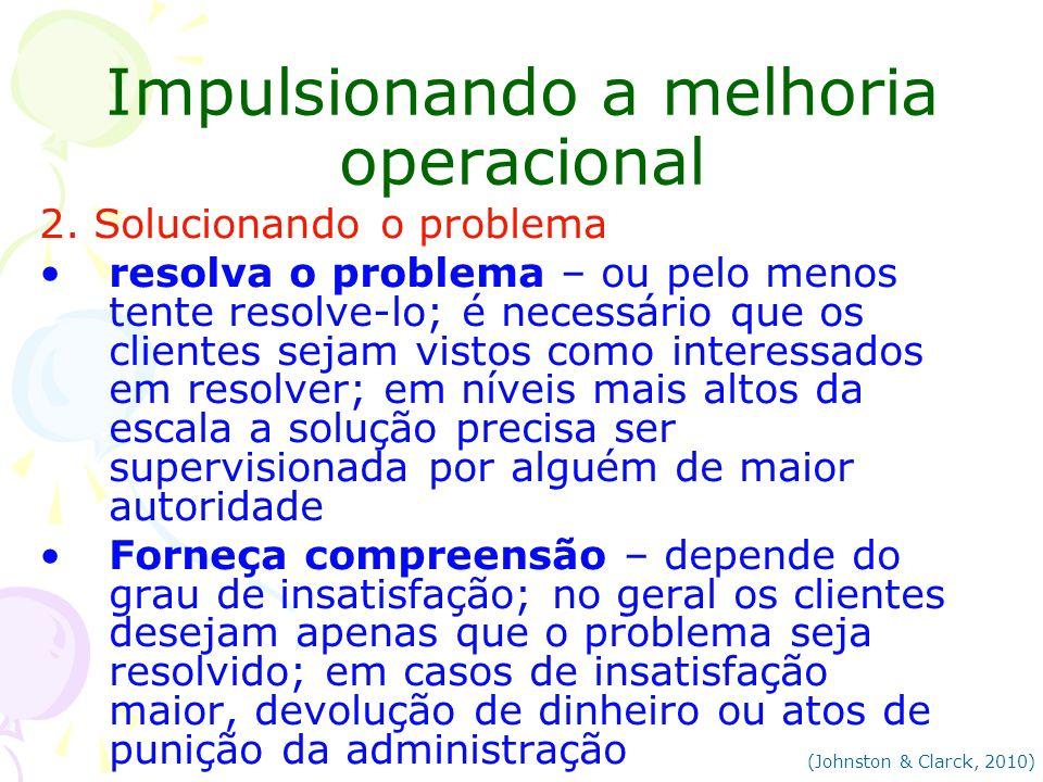 Impulsionando a melhoria operacional 2. Solucionando o problema resolva o problema – ou pelo menos tente resolve-lo; é necessário que os clientes seja