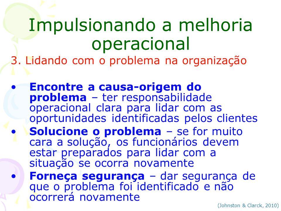 Impulsionando a melhoria operacional 3. Lidando com o problema na organização Encontre a causa-origem do problema – ter responsabilidade operacional c