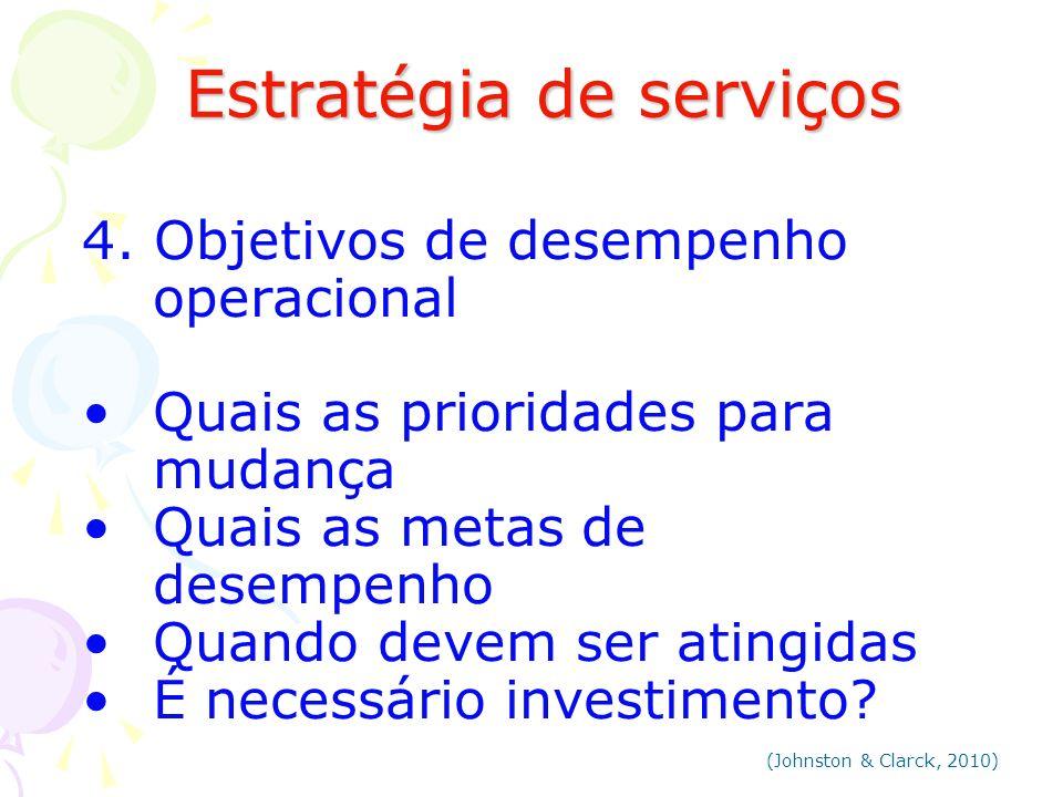Estratégia de serviços Estratégia de serviços 4. Objetivos de desempenho operacional Quais as prioridades para mudança Quais as metas de desempenho Qu
