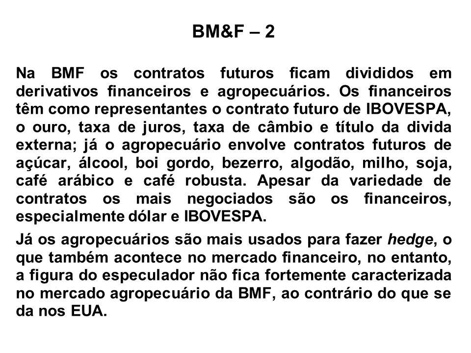 BM&F – 2 Na BMF os contratos futuros ficam divididos em derivativos financeiros e agropecuários. Os financeiros têm como representantes o contrato fut