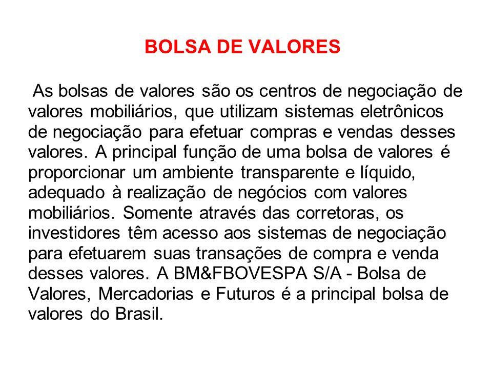 BOLSA DE VALORES As bolsas de valores são os centros de negociação de valores mobiliários, que utilizam sistemas eletrônicos de negociação para efetua