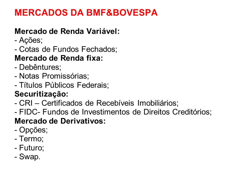 MERCADOS DA BMF&BOVESPA Mercado de Renda Variável: - Ações; - Cotas de Fundos Fechados; Mercado de Renda fixa: - Debêntures; - Notas Promissórias; - T
