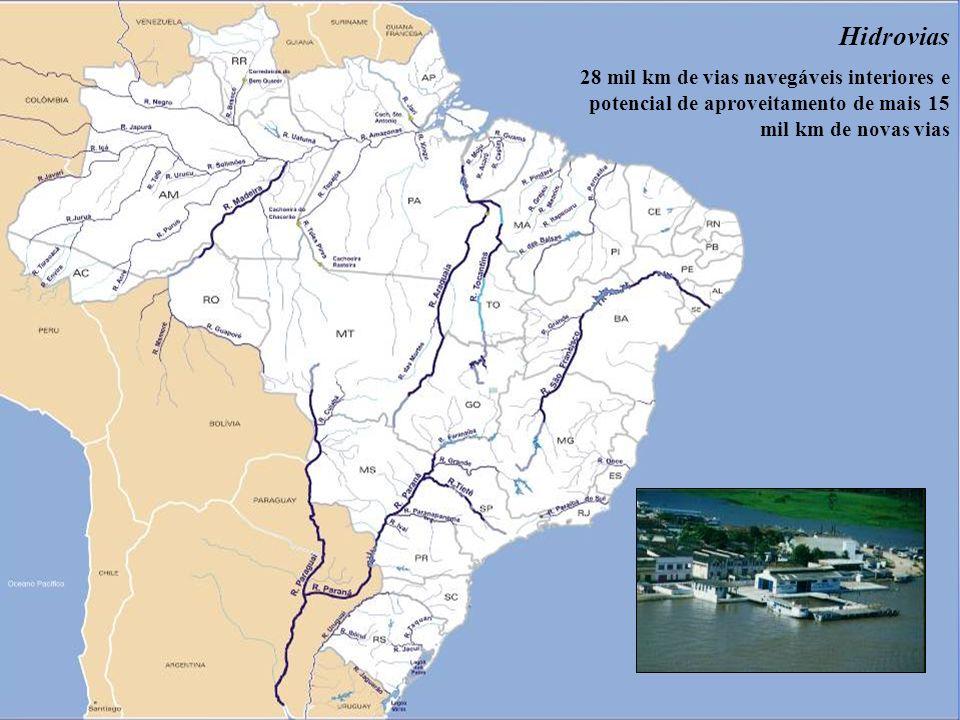 9 Hidrovias 28 mil km de vias navegáveis interiores e potencial de aproveitamento de mais 15 mil km de novas vias