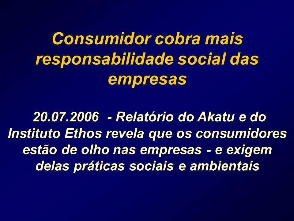 Consumidor cobra mais responsabilidade social das empresas 20.07.2006 - Relatório do Akatu e do Instituto Ethos revela que os consumidores estão de olho nas empresas - e exigem delas práticas sociais e ambientais