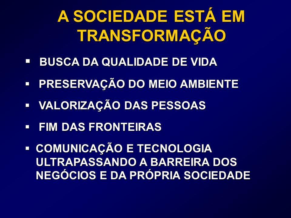 BUSCA DA QUALIDADE DE VIDA BUSCA DA QUALIDADE DE VIDA PRESERVAÇÃO DO MEIO AMBIENTE PRESERVAÇÃO DO MEIO AMBIENTE VALORIZAÇÃO DAS PESSOAS VALORIZAÇÃO DAS PESSOAS FIM DAS FRONTEIRAS FIM DAS FRONTEIRAS COMUNICAÇÃO E TECNOLOGIA ULTRAPASSANDO A BARREIRA DOS NEGÓCIOS E DA PRÓPRIA SOCIEDADE COMUNICAÇÃO E TECNOLOGIA ULTRAPASSANDO A BARREIRA DOS NEGÓCIOS E DA PRÓPRIA SOCIEDADE A SOCIEDADE ESTÁ EM TRANSFORMAÇÃO