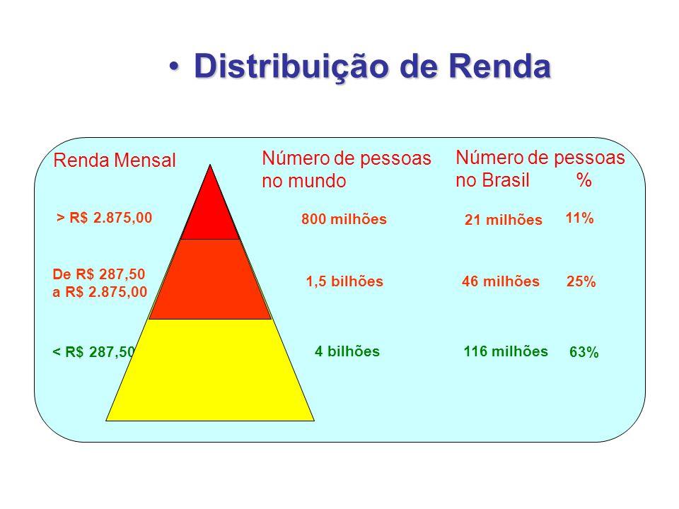 Renda Mensal Número de pessoas no mundo > R$ 2.875,00 De R$ 287,50 a R$ 2.875,00 < R$ 287,50 800 milhões 1,5 bilhões 4 bilhões Número de pessoas no Br