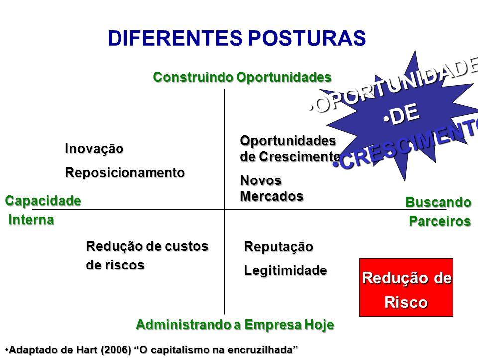 DIFERENTES POSTURAS Construindo Oportunidades Administrando a Empresa Hoje Capacidade Interna Interna Buscando Parceiros Parceiros InovaçãoReposiciona