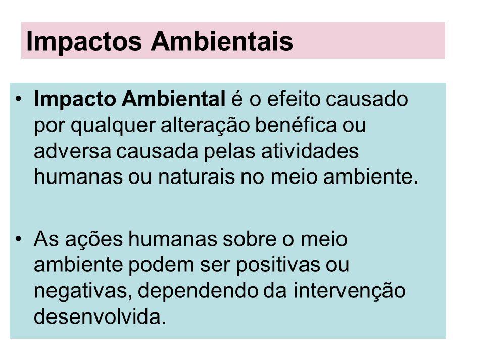 Impacto Ambiental é o efeito causado por qualquer alteração benéfica ou adversa causada pelas atividades humanas ou naturais no meio ambiente. As açõe