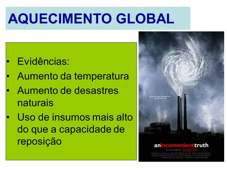 AQUECIMENTO GLOBAL Evidências: Aumento da temperatura Aumento de desastres naturais Uso de insumos mais alto do que a capacidade de reposição