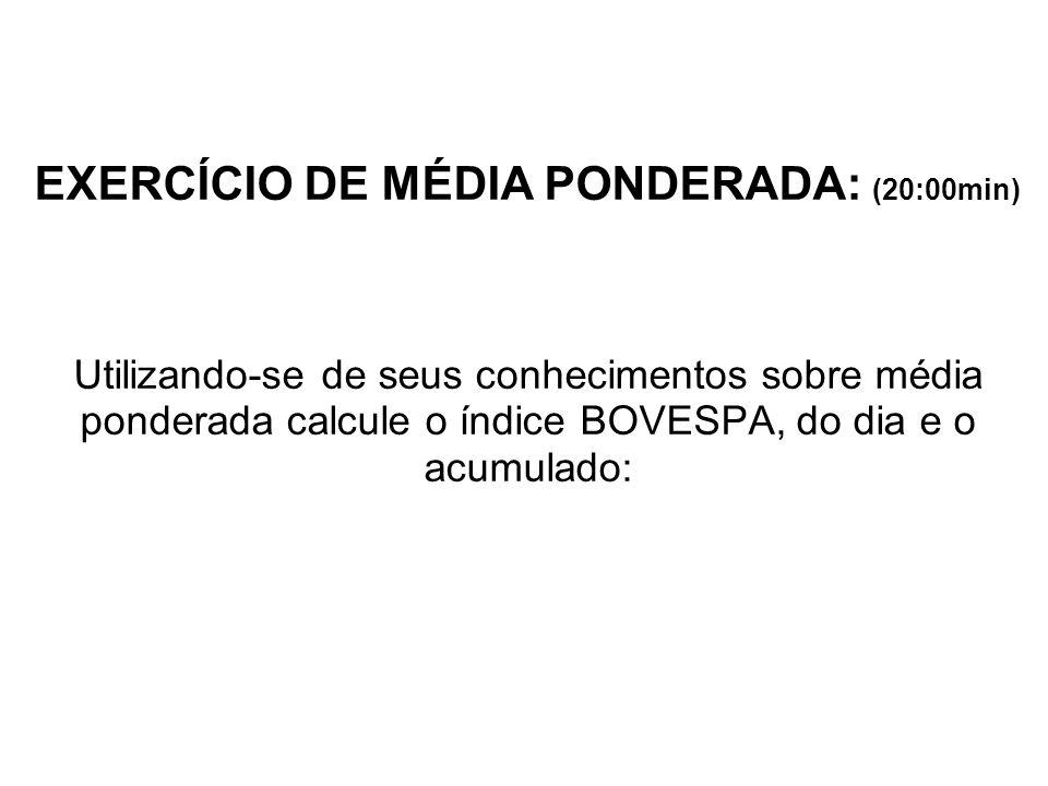 EXERCÍCIO DE MÉDIA PONDERADA: (20:00min) Utilizando-se de seus conhecimentos sobre média ponderada calcule o índice BOVESPA, do dia e o acumulado: