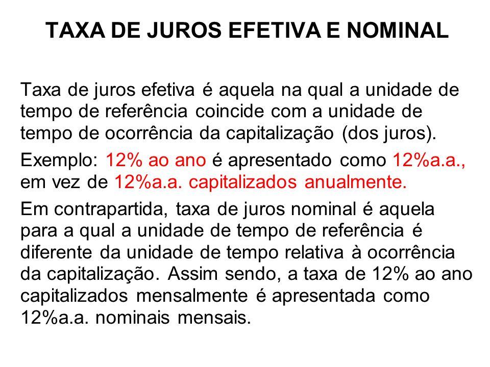 + TAXA DE JUROS EFETIVA E NOMINAL Taxa Efetiva é quando o período de formação e incorporação dos juros ao Capital coincide com aquele a que a taxa está referida.