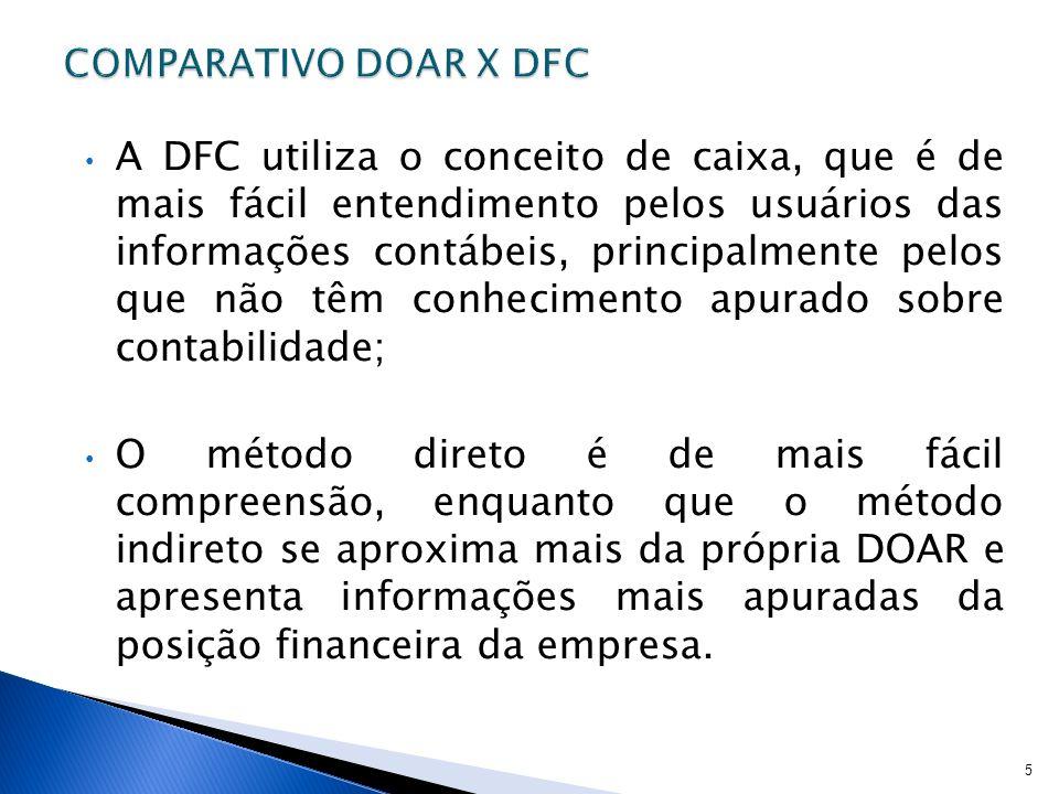 A DFC utiliza o conceito de caixa, que é de mais fácil entendimento pelos usuários das informações contábeis, principalmente pelos que não têm conheci