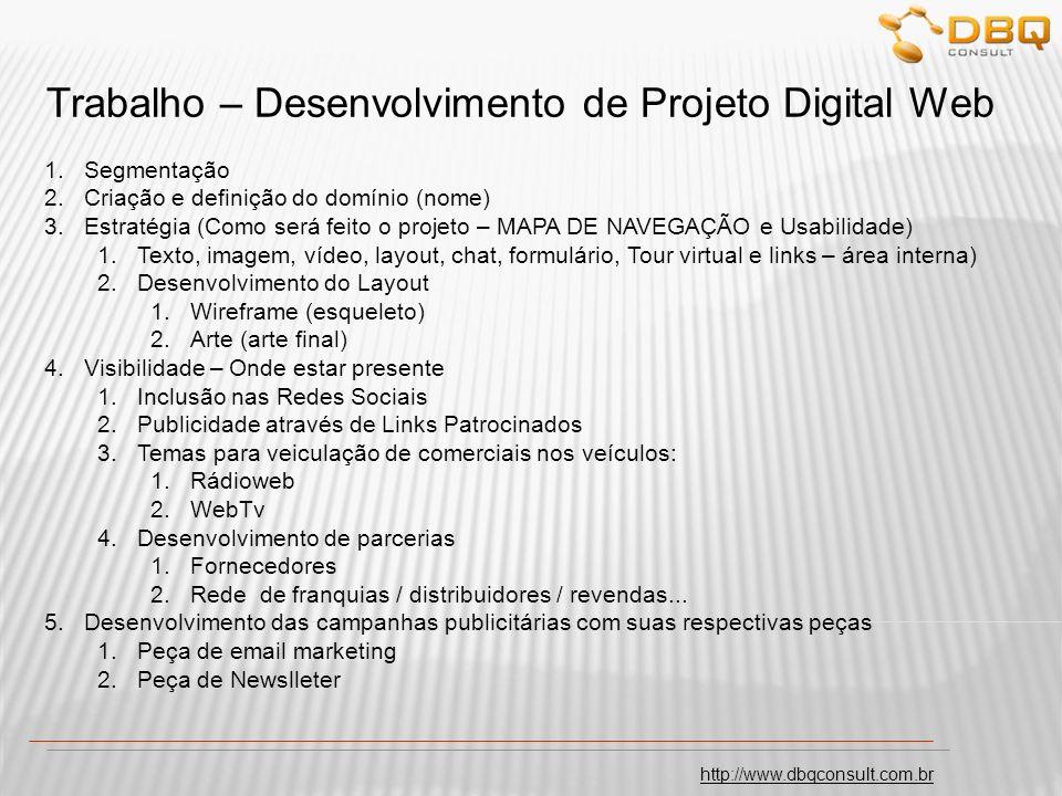 http://www.dbqconsult.com.br Trabalho – Desenvolvimento de Projeto Digital Web 1.Segmentação 2.Criação e definição do domínio (nome) 3.Estratégia (Com