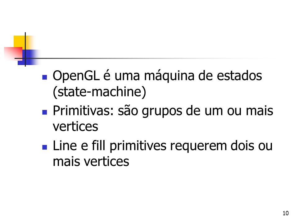 10 OpenGL é uma máquina de estados (state-machine) Primitivas: são grupos de um ou mais vertices Line e fill primitives requerem dois ou mais vertices