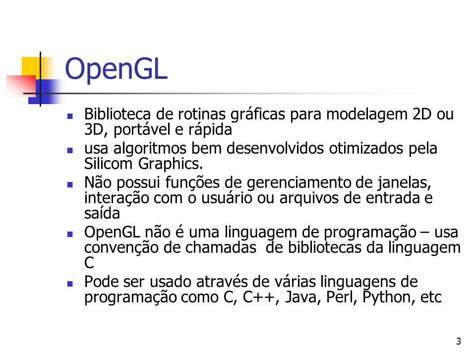 3 OpenGL Biblioteca de rotinas gráficas para modelagem 2D ou 3D, portável e rápida usa algoritmos bem desenvolvidos otimizados pela Silicom Graphics.