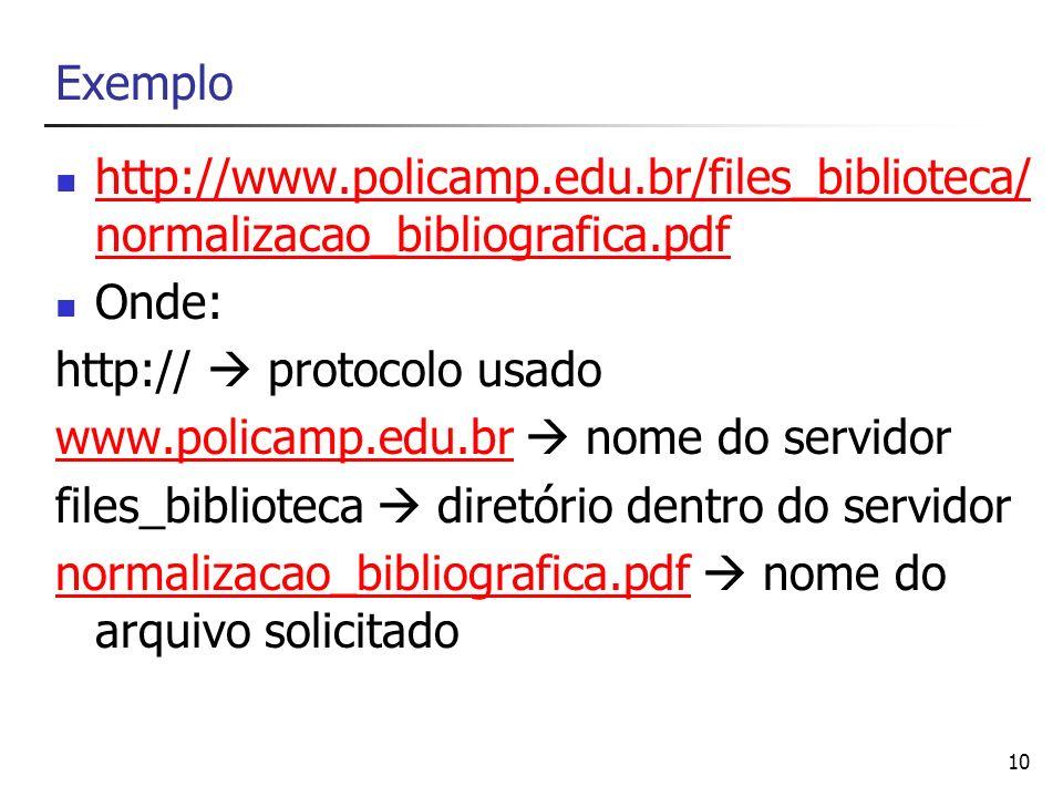 10 Exemplo http://www.policamp.edu.br/files_biblioteca/ normalizacao_bibliografica.pdf http://www.policamp.edu.br/files_biblioteca/ normalizacao_bibli