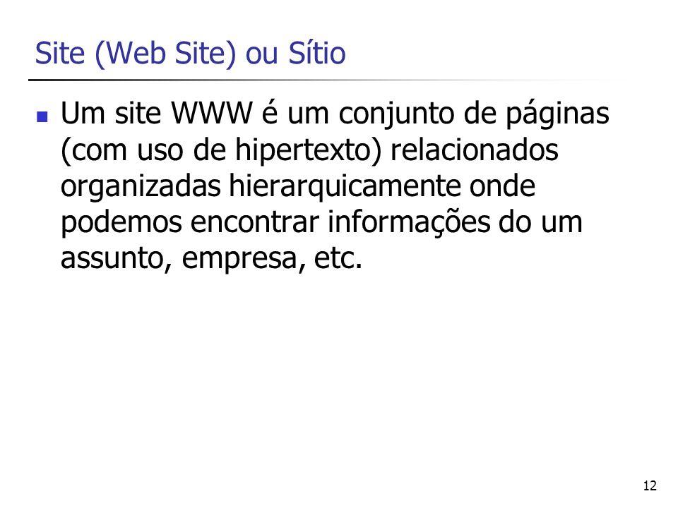 12 Site (Web Site) ou Sítio Um site WWW é um conjunto de páginas (com uso de hipertexto) relacionados organizadas hierarquicamente onde podemos encont