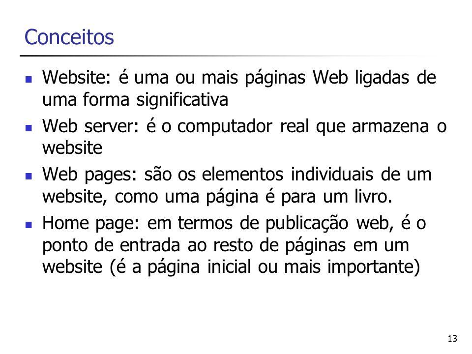 13 Conceitos Website: é uma ou mais páginas Web ligadas de uma forma significativa Web server: é o computador real que armazena o website Web pages: s