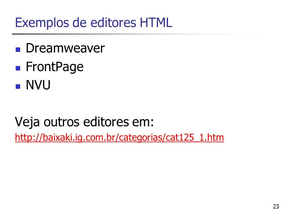 23 Exemplos de editores HTML Dreamweaver FrontPage NVU Veja outros editores em: http://baixaki.ig.com.br/categorias/cat125_1.htm